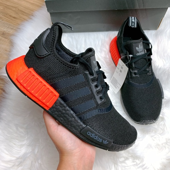 Adidas Shoes Nmd R1 Core Black Solar Red Poshmark